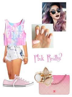 """Pink"" by delurabowers ❤ liked on Polyvore featuring Converse, Chanel and The Limited"