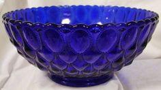 "10.25"" Cobalt Blue Glass Elizabeth Pattern Centerpiece Serving Bowl: Amazon.com: Kitchen & Dining"