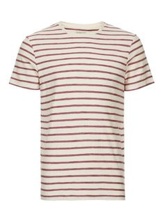 SELECTED HOMME Off White And Red Stripe T-Shirt - T-shirts & Tanks - Clothing - TOPMAN USA