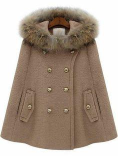 Chaqueta capa con capucha pelo-Camello pictures