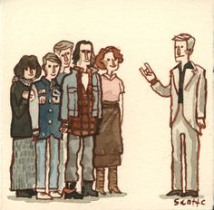 Scott Campbell, The Breakfast Club, watercolor on paper, 3 x 3 80s Movies, Iconic Movies, Funny Movies, Classic Movies, Good Movies, Movie Tv, Fanart, Cult, Nerd