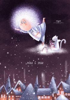 Просмотреть иллюстрацию Сделать снег из сообщества русскоязычных художников автора Карина Лемешева в стилях: Детский, Книжная графика, Персонажи, нарисованная техниками: Растровая (цифровая) графика. Naive Art, Cat Art, Winter Illustration, Cute Illustration, Christmas Signs, Christmas Art, Winter Fairy, Art Corner, Angel Arcangel