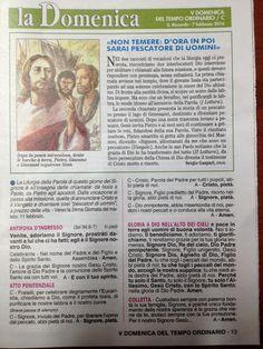 Vicio  - Apostolo del Vagelo: FOGLIETTO DELLA V DOMENICA DEL TEMPO ORDINARIO - S...