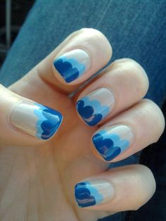 Normally I'm not too huge a fan of beige nails but with these blue accents it's positively cute.
