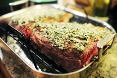 PRIME RIB RUB (Pioneer Woman)  1 whole Rib Eye Roast (I Use Boneless, But You Can Do More Traditional Bone-in Prime Rib) About 14 Pounds 4 Tablespoons Olive Oil 1/2 cup Kosher Salt, not to fine 4 Tablespoons Tri-color Peppercorns (or Any Peppercorns) 6 sprigs Rosemary 4 sprigs Thyme 1/2 cup Minced Garlic