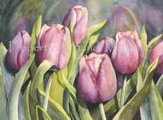 "Original Watercolor Print ""Tulips"" by Sandi McGuire on Etsy"