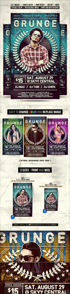 Grunge Flyer // Changeable color in 2 sizes  #GraphicRiver                 About the item: 'Grunge Flyer' is a retro inspired template designed to fit a variety of event types such as concerts, festivals, gigs, stand up shows, nightclub or dance party, dj contest, rap battles or any other kind of competitions. this template is also fitted for a wide range of music like house, electro, dubstep, glitch, hip hop, rap,