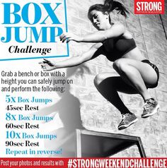 Get sweaty this Saturday with our latest weekend challenge! Make sure to use a box or bench that's a safe height for you to do multiple reps. Take your time, and good luck! Post your pics and videos with Box Jump Workout, Wod Workout, Workout Challenge, Workouts, Box Jumps, How To Get Sleep, Fitness Magazine, Lift Heavy, Health And Fitness Tips