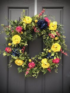 Spring Wreaths Spring Door Wreath Spring Door Decor Yellow Pink Blue Wreaths Housewarming Gift Mothers Day Gift Birthday Gift Ideas Spring Spring Door Wreaths, New Home Gifts, Mother Day Gifts, Grapevine Wreath, Bright Pink, House Warming, Birthday Gifts, Floral Wreath, Yellow
