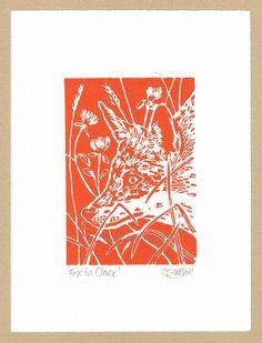 Fox in Clover - Linocut Original hand-pulled Relief Print