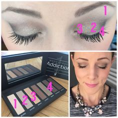 Neutral eyeshadow by numbers using the Addiction Palette 1 by Younique! ️️️Mineral makeup at its best! www.emmaslovelylashes.com