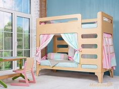 Кровать для двоих детей из фанеры, дизайнерская детская мебель, двухъярусная кровать
