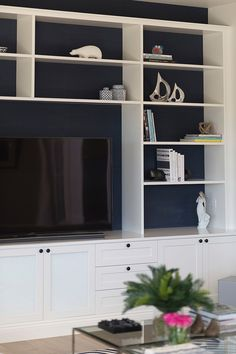 Wood Marble and White tv cabinet joinery White Tv Cabinet, Cabinet Ideas, Tv Cabinets, House And Home Magazine, Joinery, White Marble, Deck, Storage, Wood