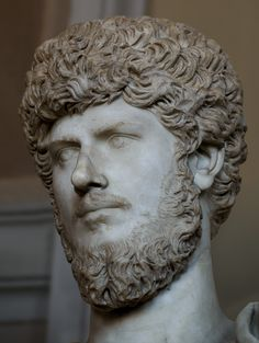Statue in armor with portrait of Lucius Verus (close-up). Marble. 161—169 CE. Inv. No. 541. Rome, Vatican Museums, Pius-Clementine Museum, Gallery of statues, 1