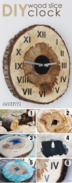 Check out how to make an easy #DIY Wood Slice Clock #HomeDecorIdeas #RusticDecor @istandarddesign