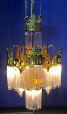 Incredible Gilt  & Glass Chandelier