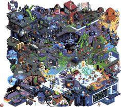 Isometric Pixel Art Collaborations Pixel Artists: Pixel Joint Forums Source: pixeljoint.com (Underground / Horror / Underwater / Sci-Fi)
