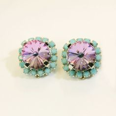 Aqua Purple Clip On Earrings Turquoise Blue Violet by TIMATIBO, $34.00