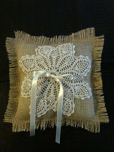 ring bearer pillow with doily