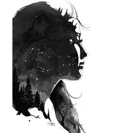 Star Gazing. #illustration #watercolor #painting #art #stargazing #stars #starrynight