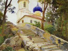 """Kondrat Maksimov, Russian, Shishkino, Vyatka province 1894 - Kazan 1981, """"Svyatogorsky Monastery"""""""