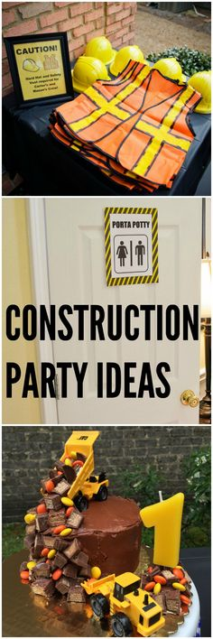 Easy CONSTRUCTION Part Ideas + a free printable set for your party! 1st Boy Birthday, 2nd Birthday Parties, 1st Birthday Ideas For Boys, Party Themes For Kids, Boy Birthday Themes, Digger Birthday Cake, Digger Party, Construction Theme Party, Construction Birthday Cakes