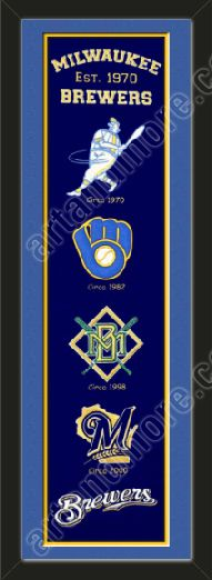 This framed Milwaukee Brewers heritage banner, double matted in team colors to 8 x 32 inches.  $119.99 @ ArtandMore.com