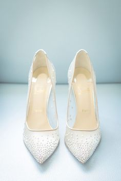 sparkly Christian Louboutin wedding shoes #weddingshoes