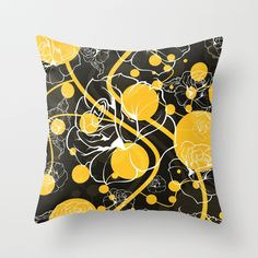 """My yellow autumn garden"" Throw Pillow by VessDSign on Society6."