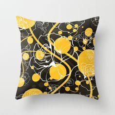 """My yellow autumn garden"" Throw Pillow by VessDSign on Society6."