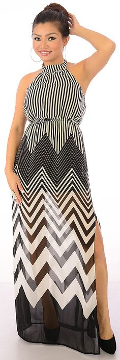 Hit It Off-$26.80-Make a big hit with this compelling maxi dress. The tie back neck halter has an elastic back and waist for a secure, custom fit. The light weight fabric has a stripe and chevron print sure to turn heads. This style features a short inset lining that measures 24 inches from underarm to hem, while the over-set measures 52 inches from underarm to the hem.