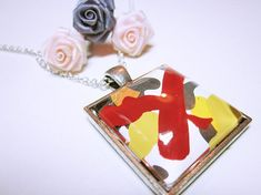 Statement Necklace Abstract Art Pendant by AllYouNeedIsBeads Rock Jewelry, Jewelry Art, Modern Jewelry, Black Abstract, Abstract Art, Diy Jewelry Gifts, Graduation Jewelry, Original Design, Antique Bracelets