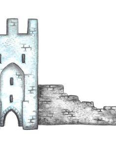 Otton Art.com - Visby, Gotland, gate tower illustration - turquoise - print - A4 - Illustration by Linda Otton