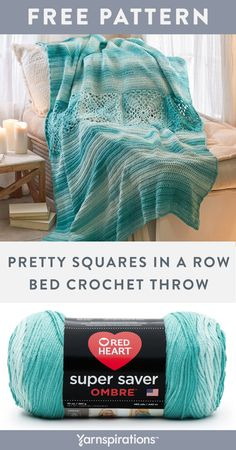 Yarnspirations is the spot to find countless free easy crochet patterns, including the Red Heart Pretty Squares in a Row Bed Throw. Browse our large free collection of patterns & get crafting today! Crochet Crafts, Crochet Ideas, Free Crochet, Afghan Crochet Patterns, Crochet Afghans, Yarn Projects, Crochet Projects, Crochet Stitches For Blankets, Ombre Yarn