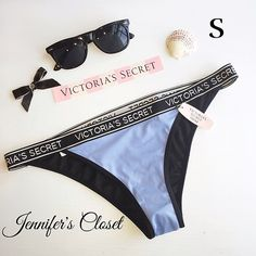 {Victoria Secret} logo swimwear bikini bottoms SUNGLASSES ARE FOR DISPLAY ONLY.                         ❌NO TRADES ❌NO HOLDS ❌NO PP ✮ITEMS ARE 100% AUTHENTIC   ✮PLEASE DO NOT RATE ME BASED UPON FIT/SIZE OF YOUR ITEM. ASK FOR MEASUREMENTS OR PURCHASE AT YOUR OWN RISK✮ Victoria's Secret Swim Bikinis