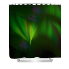 Anna Maloverjan Shower Curtain featuring the digital art This Fractal Looks Like Aurora by Anna Maloverjan  fractal, aurora, northern, sky, polar, light, lines, art, glow, render, abstract, background, multicolored, design, element, creative,