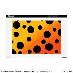"Black Dots On Blended OrangeToYellow Decal For 15"" Laptop"