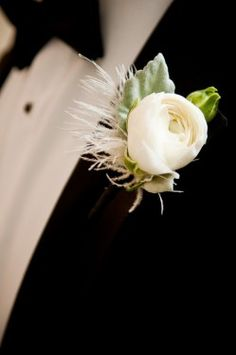 Ranunculus and Ostrich Feather Fringe Boutonniere