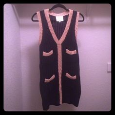 3.1 Phillip Lim Sweater Dress Excellent condition! 3.1 Phillip Lim sleeveless sweater dress/tunic in navy and gold. Requires something to be worn underneath due to knit style. Looks great with leggings and tights! Size  large but runs more like a M/L 3.1 Phillip Lim Dresses