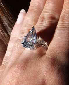 5.16 Carat Vivid Blue Pear Shaped Diamond in Ring Setting