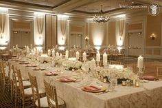 The Ballantyne Hotel, Carolina Wedding Design, Blush, gold, ivory with candles, gold chaivari chairs, cream textured linens, ivory and blush flowers