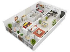 Modern-Two-Bedroom-Apartment plantas de casas