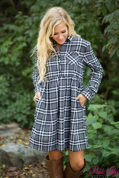 This sweet plaid dress is calling your name - it's just perfect for fall!