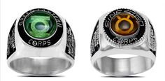 Silver Green Lantern and Sinestro Corps rings with engraved oaths.
