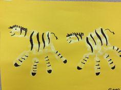 zebra hand print craft for preschoolers