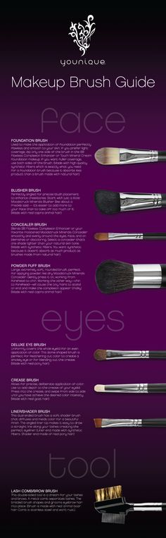 I have to remember this! Ever wonder what each makeup brush is for? This infographic tells you the purpose of each brush and some great makeup application tips.