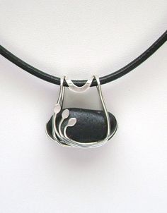 Sea Glass Jewelry - Sterling Caged Rare Black Scottish Sea Glass Necklace.