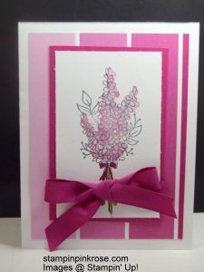 Stampin' Up! CAS Any Occasion card made with Lots of Lavender stamp set and designed by Demo Pamela Sadler. Use this set for any occasion you need. See more cards at stampinkrose.com #stampinkpinkrose #etsycardstrulyheart