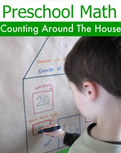 This is a math activity with gross motor, and some writing on a vertical surface which is great for beginning writers because it forces the correct wrist position and strengthens the correct muscles in the hand and arm.