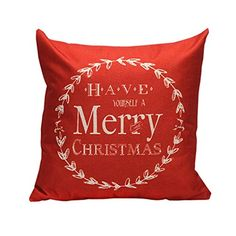 GBSELL Vintage Merry Christmas Letter Sofa Bed Home Decoration Festival Pillow Case Cushion Cover (Red) - http://rfernandez.otldemo.com/wp_timeless/gbsell-vintage-merry-christmas-letter-sofa-bed-home-decoration-festival-pillow-case-cushion-cover-red/